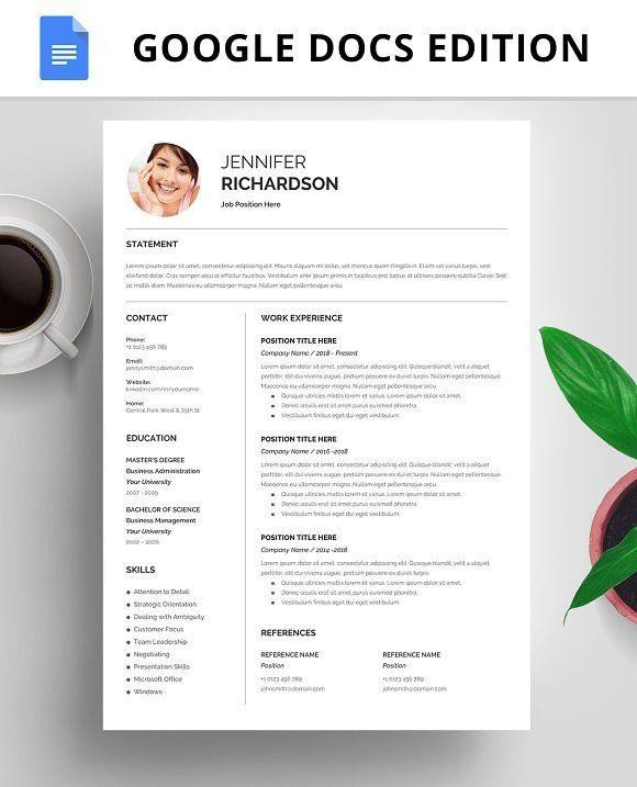 Resume Template, CV, Google Docs | Resume design template ...