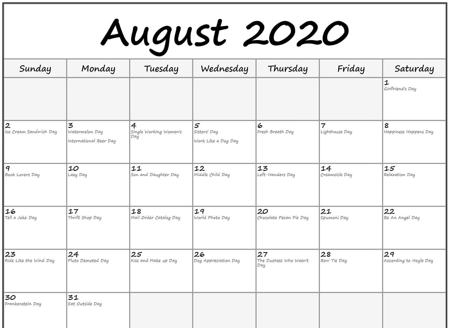 Free Printable August Holidays 2020 Calendar US UK Canada