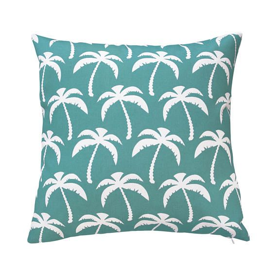 Tropical Palm Tree Outdoor Throw Pillow Cover 18x18 Square
