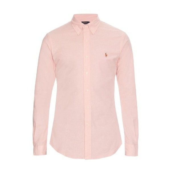 Polo Ralph Lauren Slim-fit long-sleeved cotton-blend shirt ($95) ❤ liked on Polyvore featuring men's fashion, men's clothing, men's shirts, men's casual shirts, pink, mens pink shirt, mens long sleeve casual shirts, mens button down collar shirts, mens slim shirts and mens slim fit casual shirts