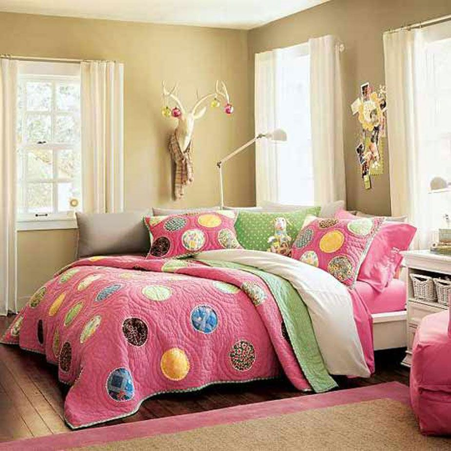 Bedroom, Cute Polka Dot Bedding Set And Unique Faux Taxidermy Deer Head For  Girl Bedroom Decorating Idea ~ Beautiful Girl Bedroom Decorating Ideas