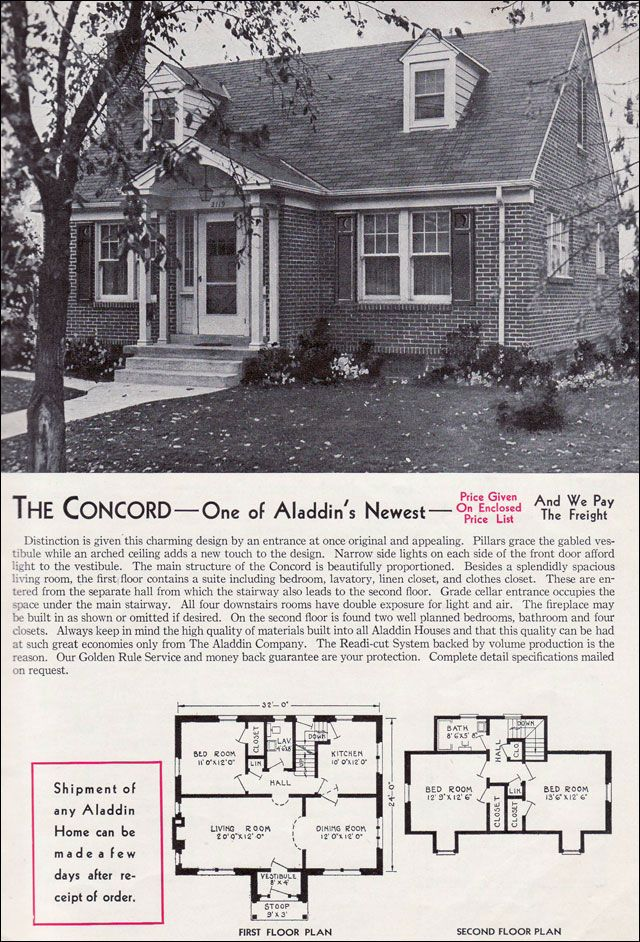1940 Aladdin Kit Homes The Concord Vintage House Plans