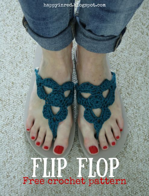 18 Crochet Flip Flops with Free Pattern | Pinterest | Crochet flip ...