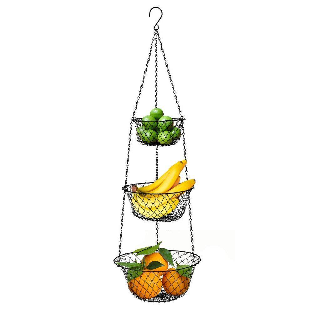 Amazon Com 3 Tier Wire Fruit Hanging Basket Kitchen Vegetable Storage Basket Iron Wire Bla Hanging Baskets Kitchen Kitchen Vegetable Storage Hanging Baskets