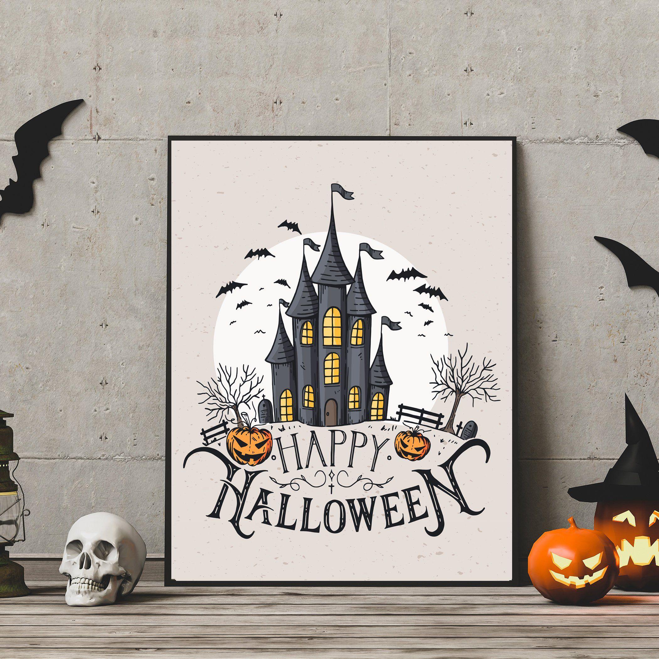 Happy Halloween Print Halloween Party Poster Halloween Party