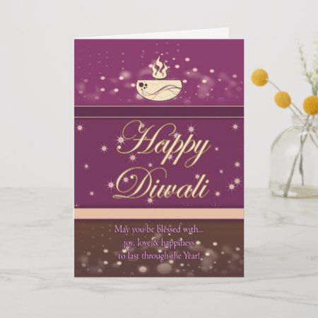 Diwali Greeting Card With Lamp - Happy Diwali | Zazzle.com