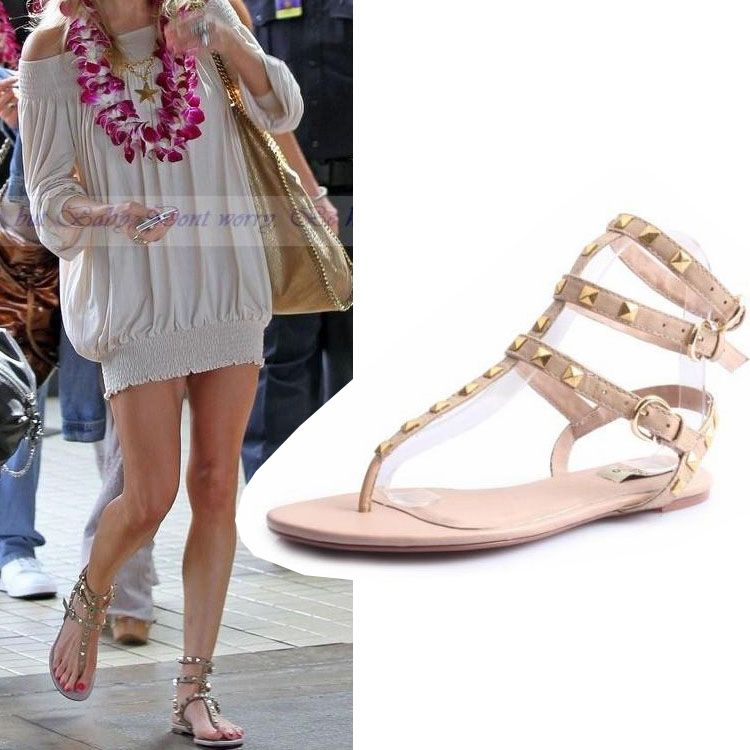 2013 studded flat sandal rivet genuine leather ankle straps flat heel  gladiator sandals shoes ladies thong