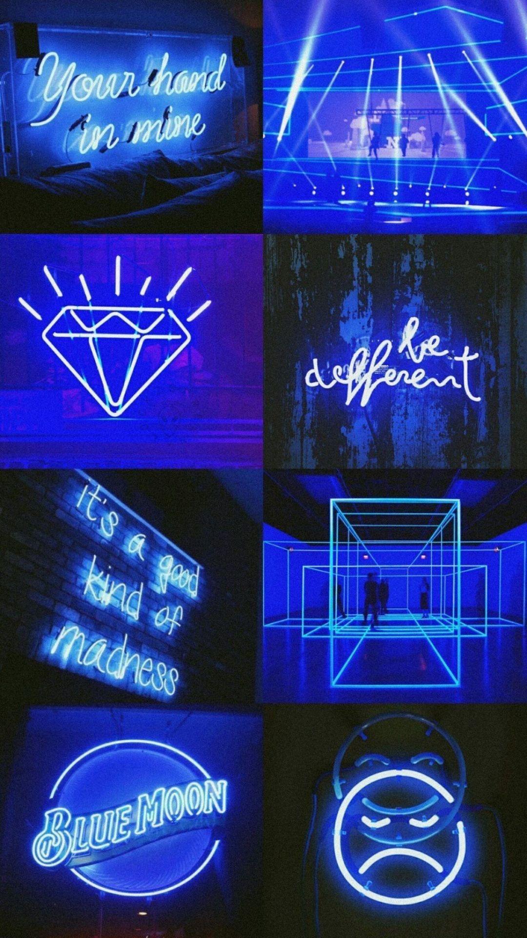 Aesthetic Neon Dark Blue