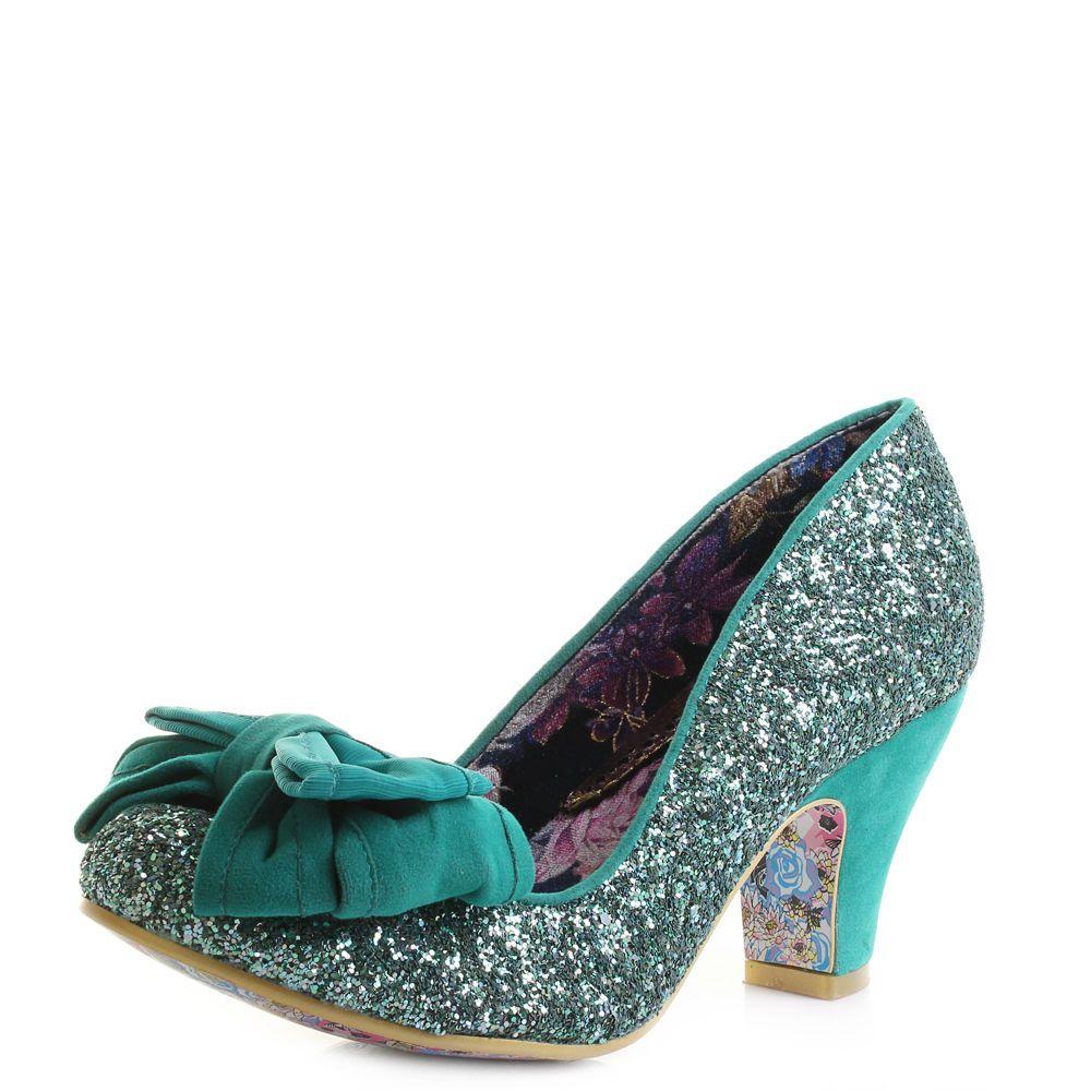 2af306d3826 Womens Irregular Choice Ban Joe Green Glitter Mid Heeled Court Shoes ...
