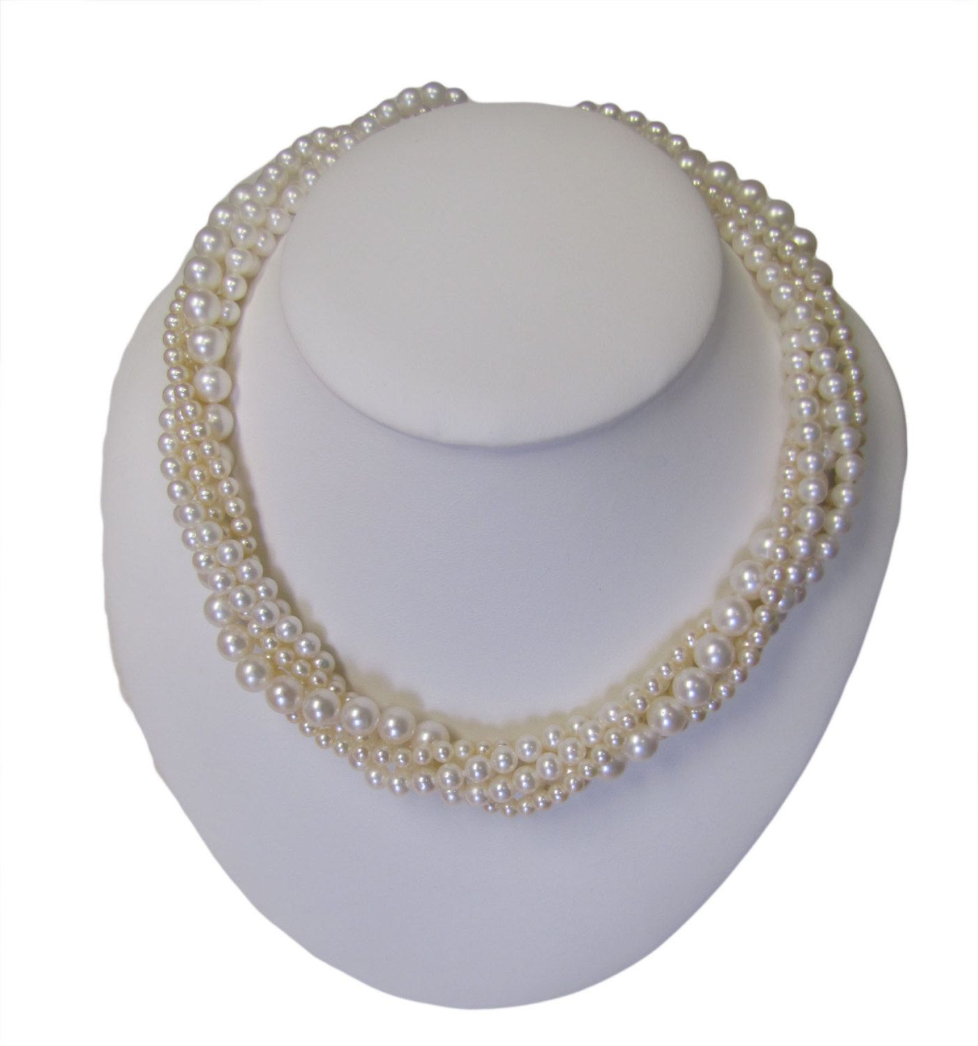 """Beautiful, high quality, high luster fresh water cultured pearl torsade / twist necklace 925 silver, 5 rows, 4-8mm, 18"""", hand strung by ClarielDesigns on Etsy"""