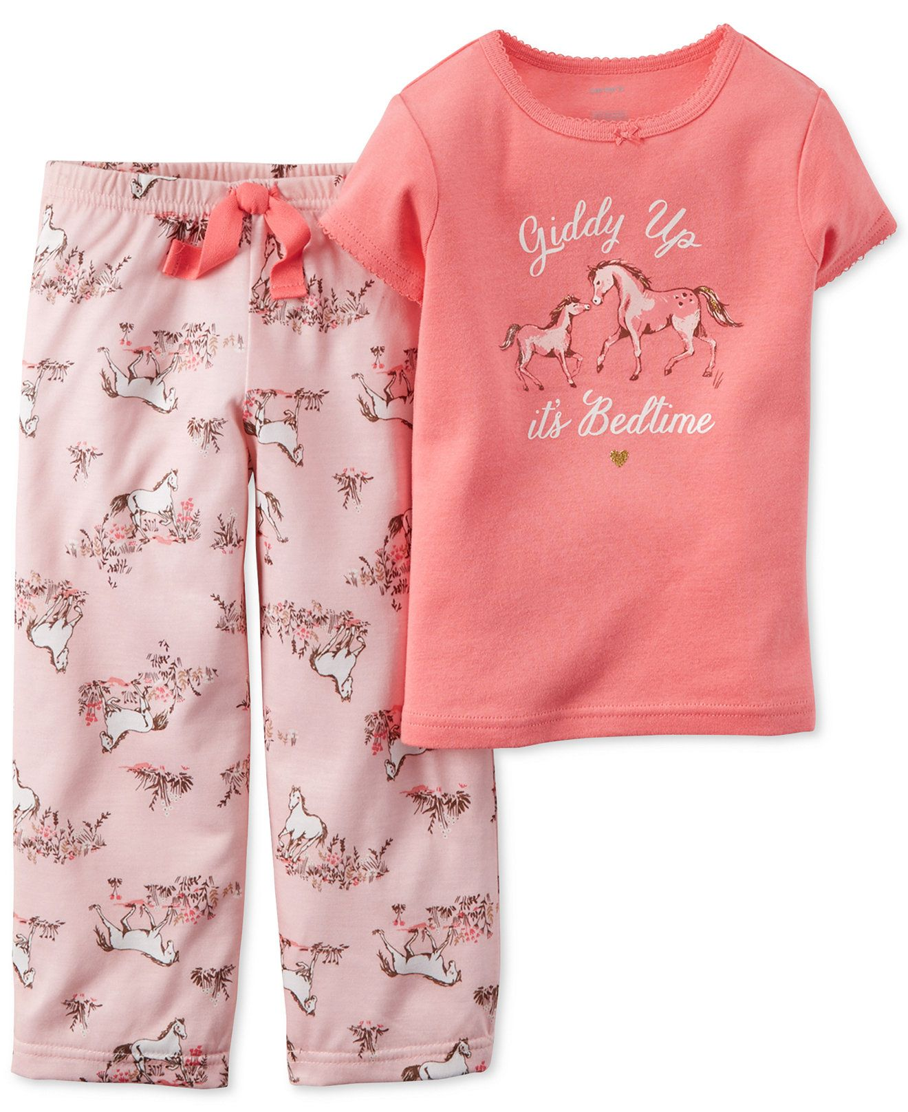 e50bc858c9 Carter s Girls  or Little Girls  2-Piece Horse Pajama Set - Kids - Macy s