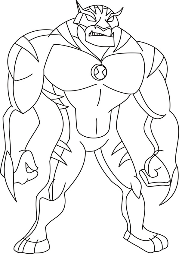 Ben 10 Staring And Ready To Attack Coloring Pages For Kids Printable