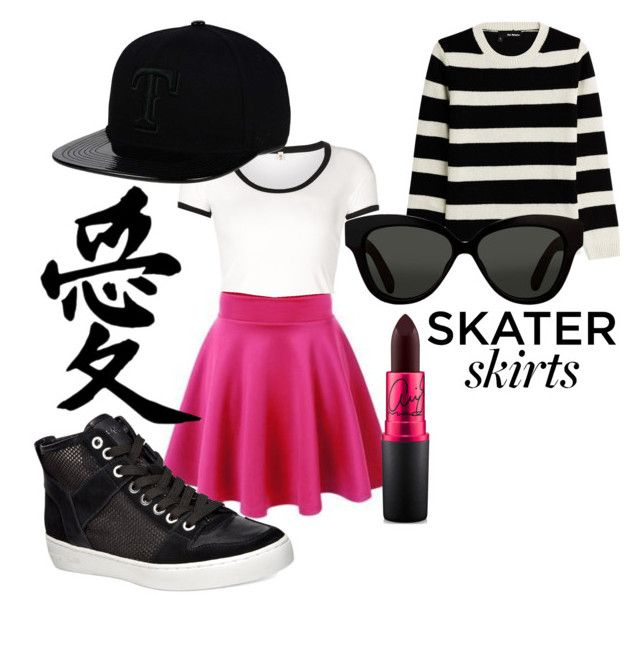 """""""Skater Skirts"""" by stellanox ❤ liked on Polyvore featuring The Kooples, R13, UNIF, Michael Kors, Linda Farrow, '47 Brand and MAC Cosmetics"""