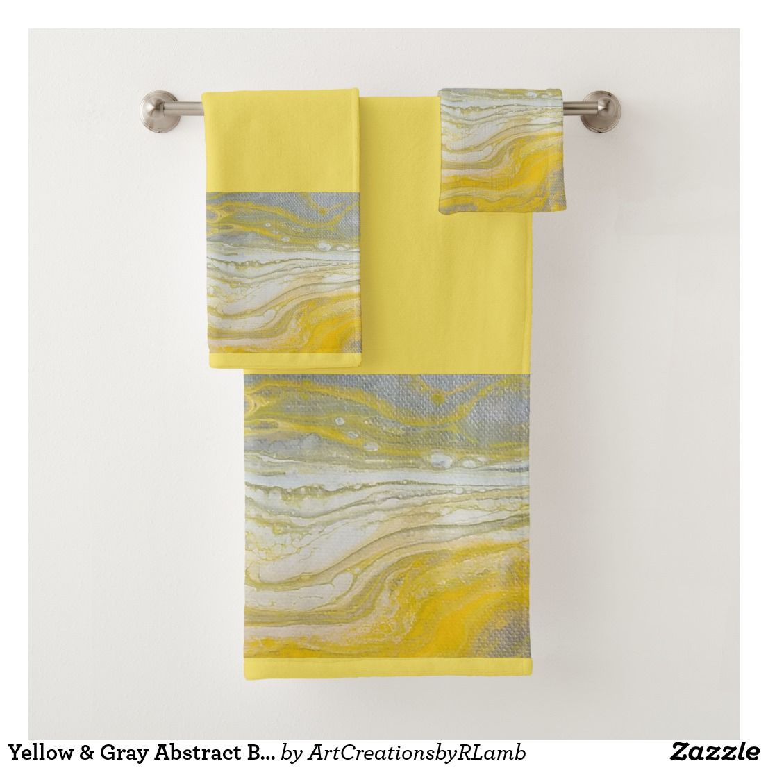 Yellow Gray Abstract Bathroom Towel Set Zazzle Com Towel Set Custom Towel Yellow Towels