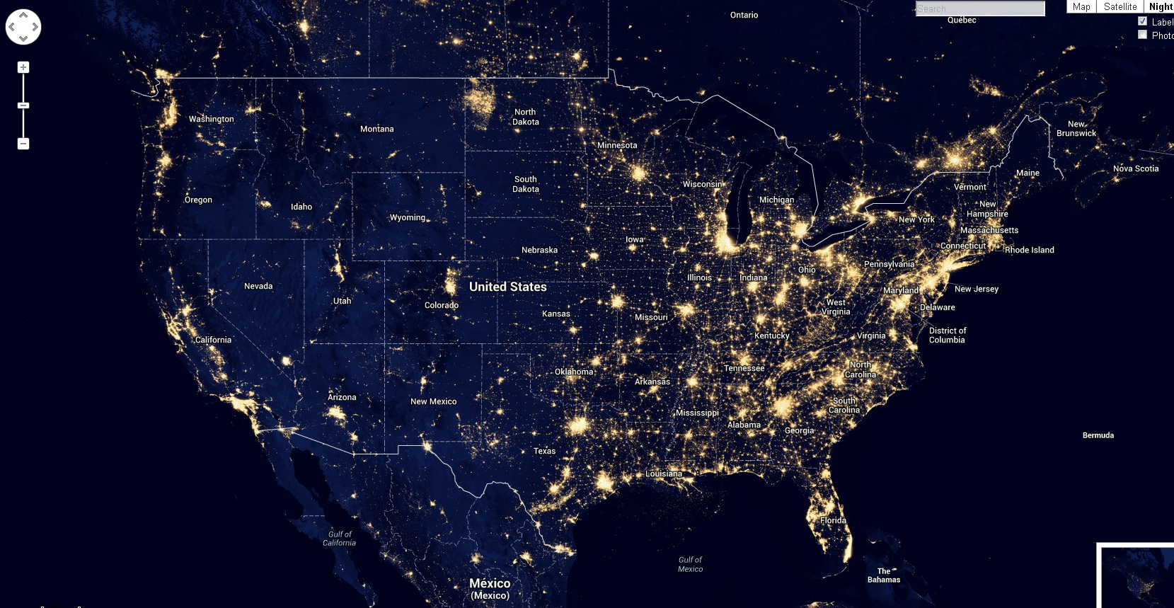 Map of US light pollution Map of