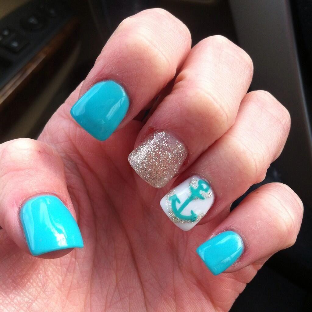 Aqua Nail Art: Aqua Blue With Glitter And An Anchor