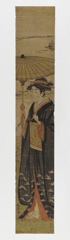 Brooklyn Museum - Woman with Umbrella - Artist Katsukawa Shunkō