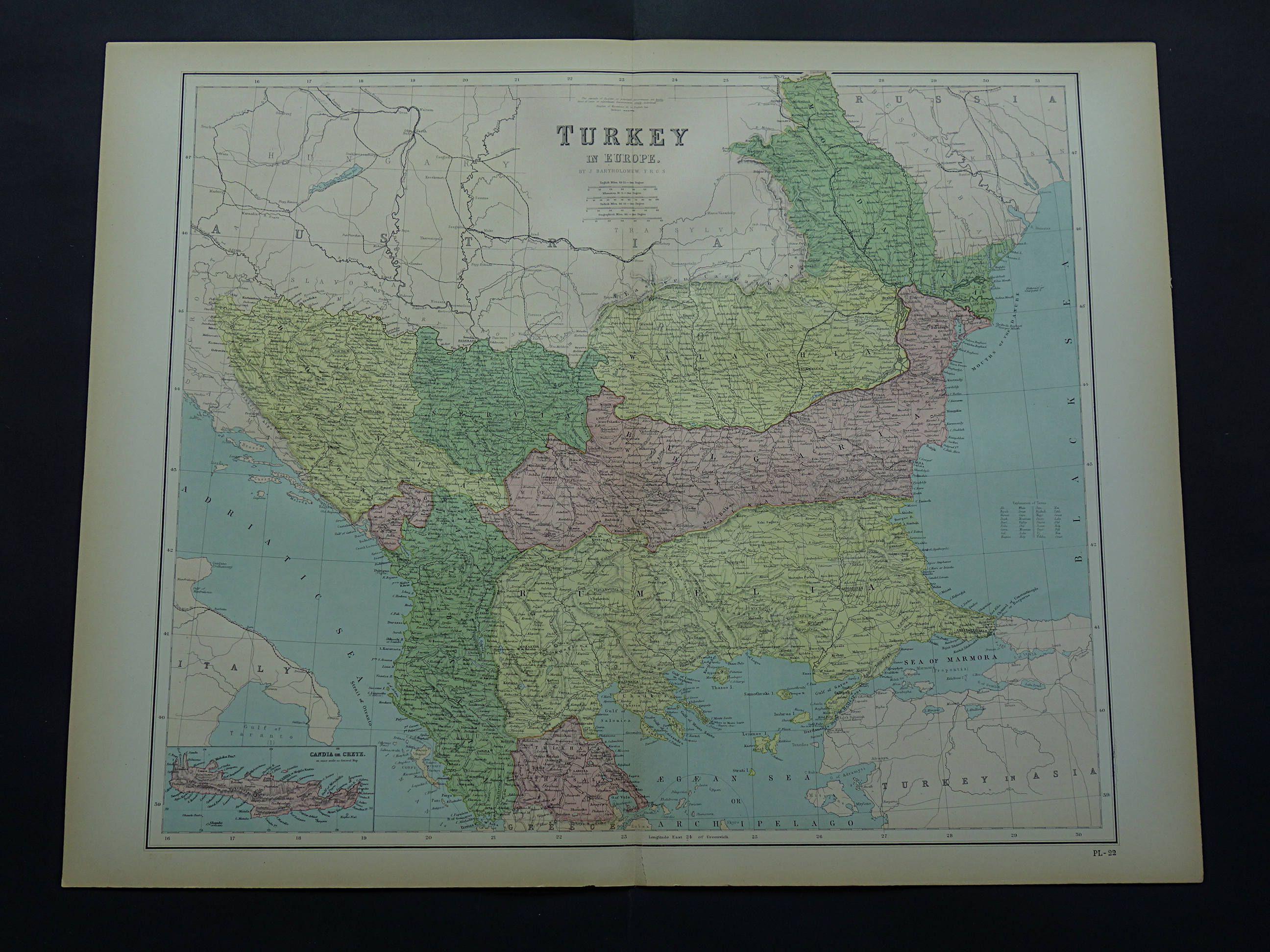 BALKANS old map of European Turkey in 1875 LARGE original antique