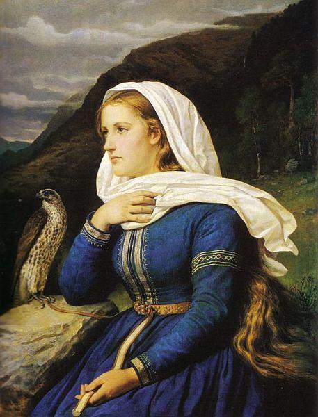 Ingeborg, 1868 painting of heroine in the Hervarar Saga in Norse mythology by Peter Nicolai Arbo, Norwegian, 1831-1892.