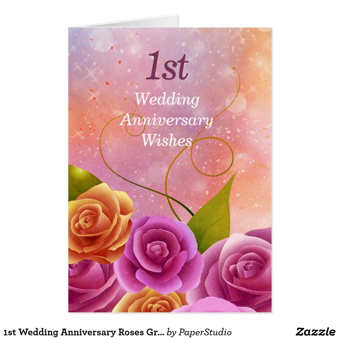 1st wedding anniversary roses greeting card pinterest wedding 1st wedding anniversary roses greeting card m4hsunfo