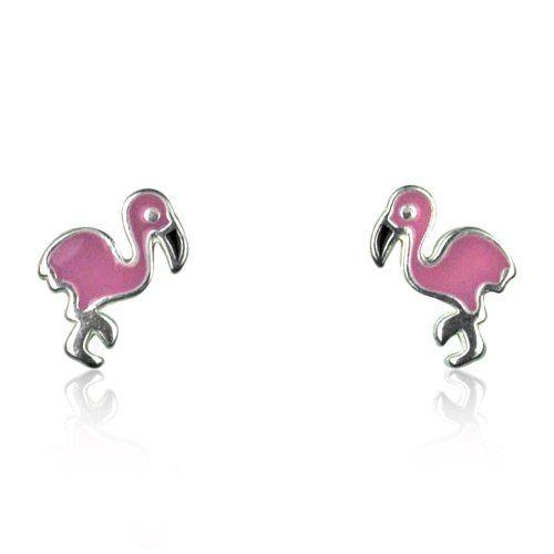 Flamingo leverback Earrings pink or green