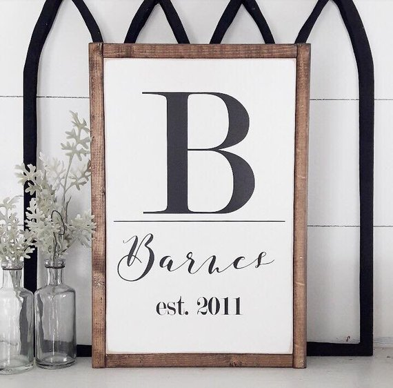 Personalized Last Name Sign   Newlywed Decor   Bedroom Wall Hangings   Farmhouse Decor   Bridal Shower Gifts   Customize   Initial