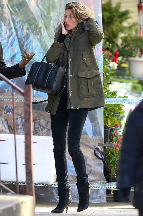 ebda86ed471 Gisele Bundchen wearing Isabel Marant Audrey Suede and Leather Boots in  Black Givenchy Lucrezia Bag Fay Padded Jacket in Green