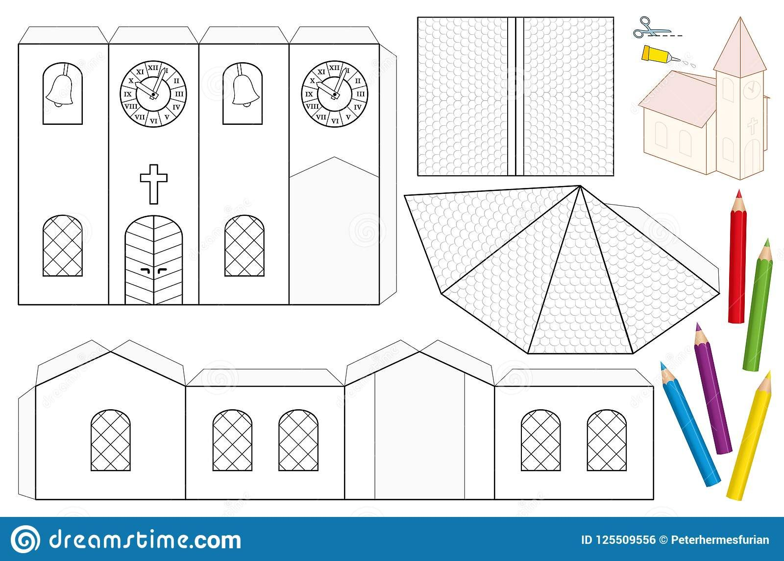 Church Paper Craft Coloring Template Photo About Dimensional Church Craft Clock Outline Creative Nave Paper House Template Paper House Diy Paper Crafts
