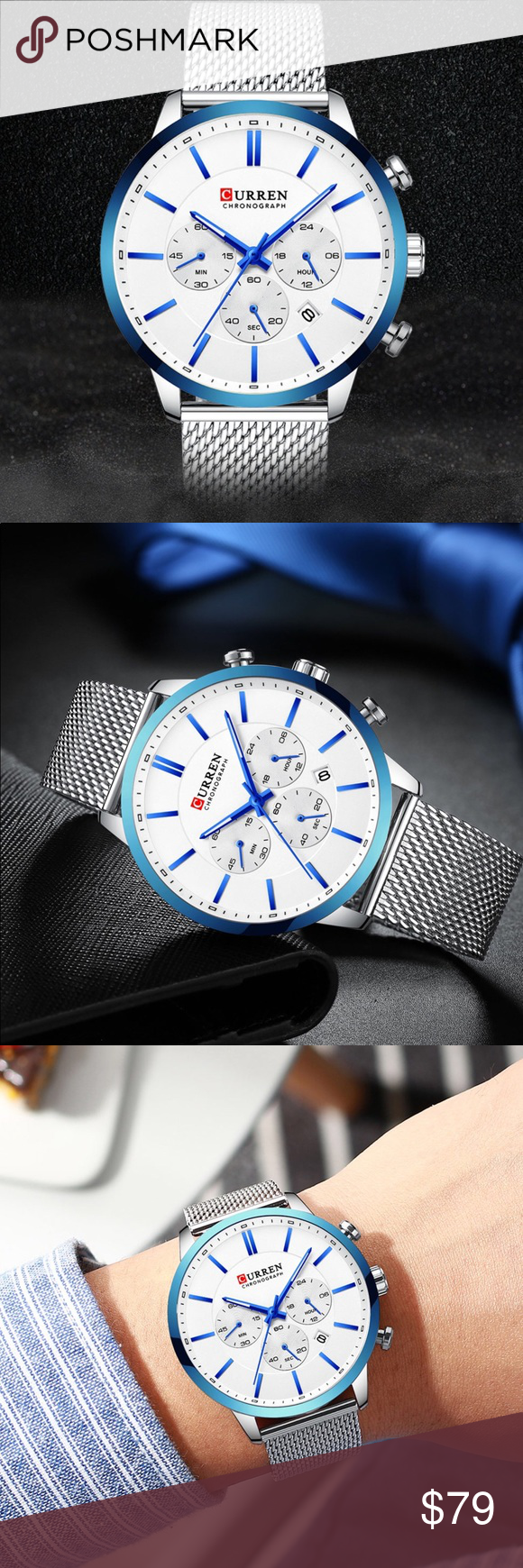 Sports Watch for Men Curren Brand Sports Watch  Waterproof  Chronograph  Calendar Quartz  Band Material: Stainless Steel Band Length: 25 cm (9,84 inches) Case Material: Alloy Case Diameter: 48 mm (1,88 inches) No Box Curren Accessories Watches #sportswatches