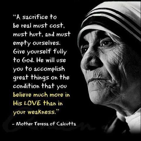 """MANY CHRISTIANS THINK THAT IT IS ONLY JESUS WHO SHOULD CARRY THE CROSS,  SUFFER and DIE,"""" Alistair Begg. """"The…   Mother teresa quotes, Mother  teresa, Mother theresa"""