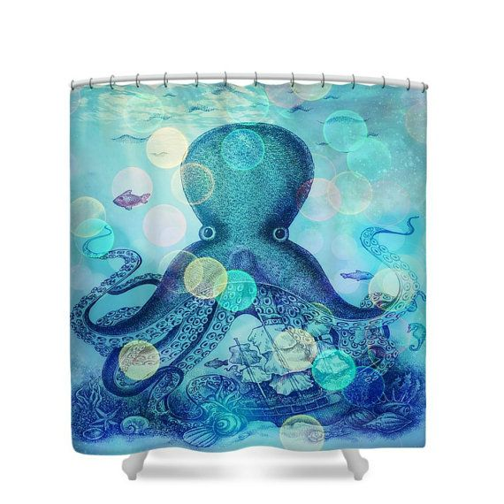 octopus shower curtain, octopus bathroom decor, teal purple ocean
