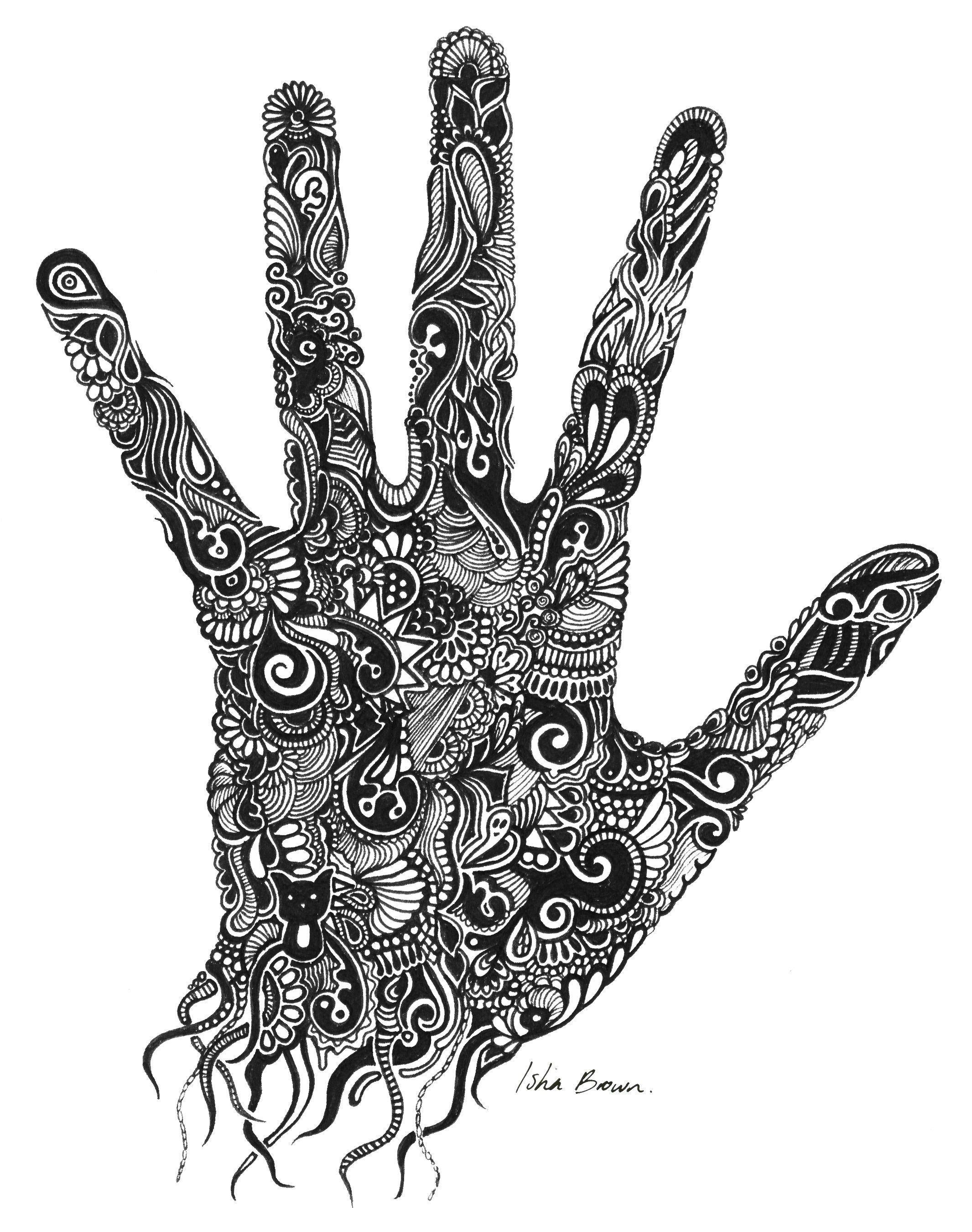 Handprint Drawing With Fine Liner By Isha Brown Art 2d