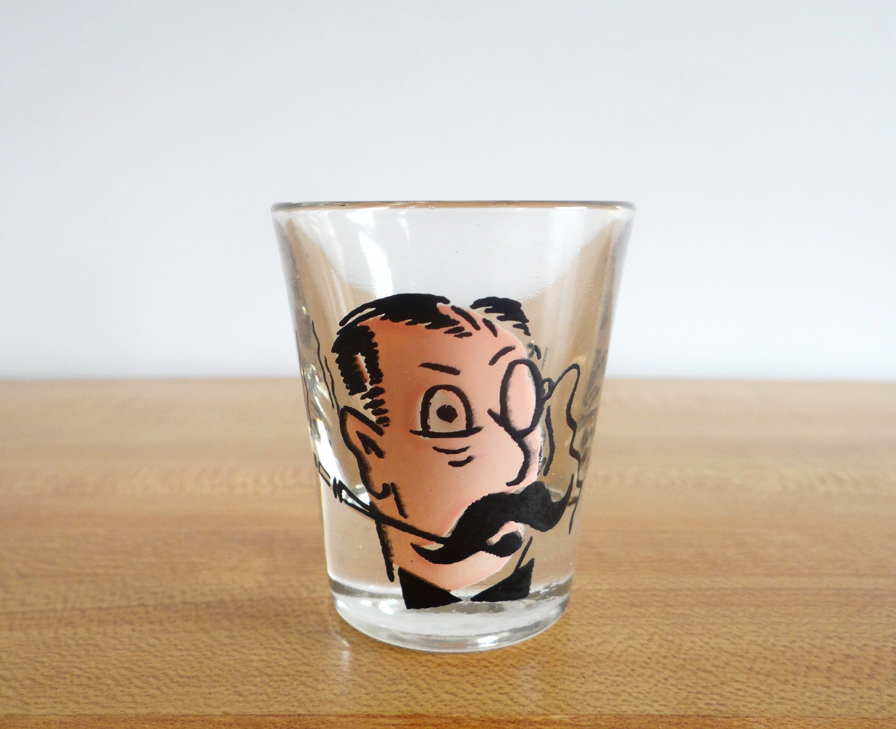 Shot Glass I Say Jolly What Eye Monocle Mustache Shot