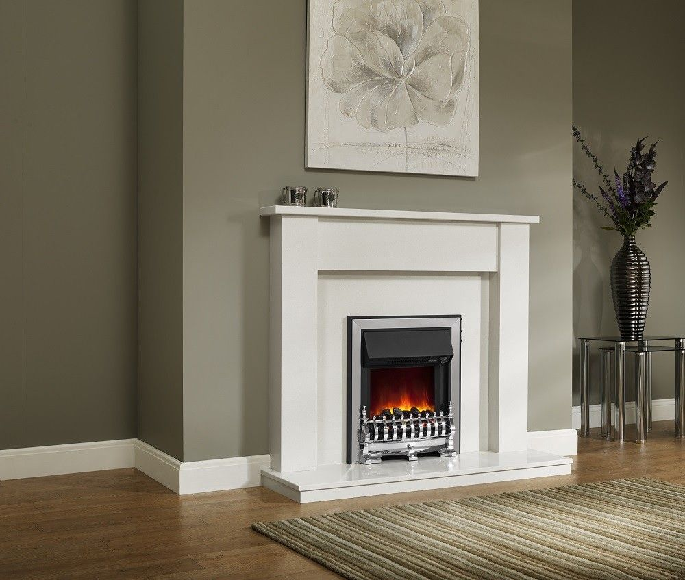 Be modern elda inch fireplace white micro marble