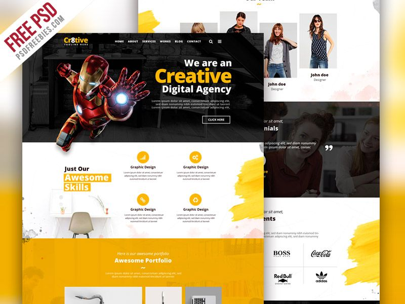 Awesome Creative Agency Portfolio Website Psd Template Download Creative Agency Portfolio Website Psd Template Portfolio Website Creative Agency Psd Templates