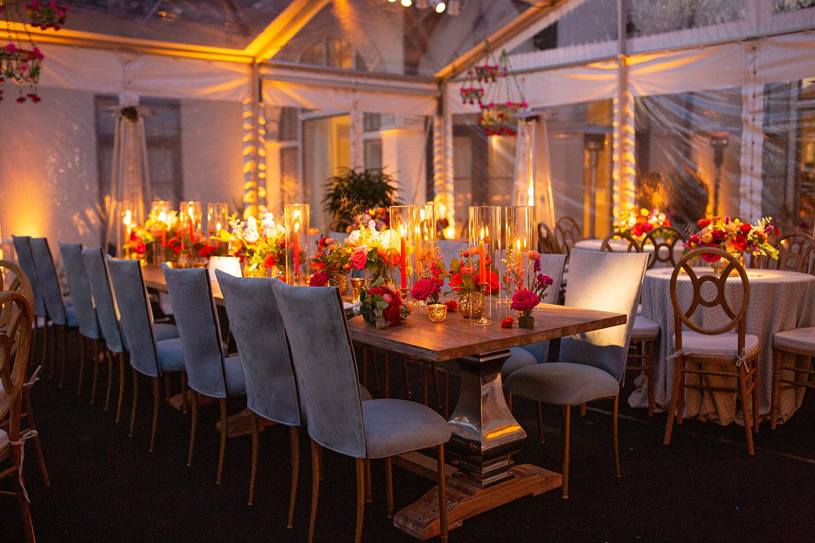 Bright fiesta floral and decor tent reception clear