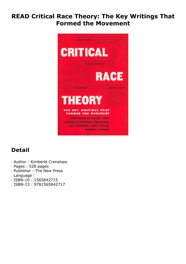 ^PDF^ Critical Race Theory: The Key Writings That Formed ...