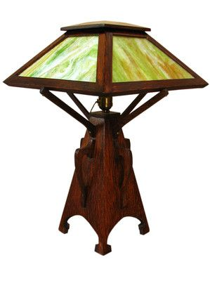 5641174d6902e GOOD Antique ARTS   CRAFTS Cut Out Table Lamp MISSION Oak Stickley ...