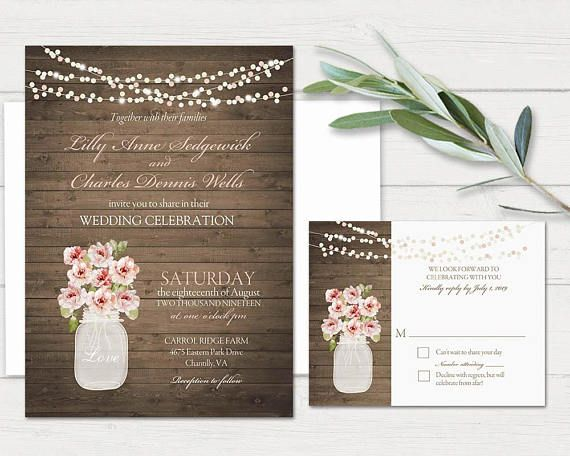 Rustic Mason Jar Wedding Invitations Designed On A Barn Wood Background With Filled Gorgeous Blush Peonies Strings Of Lights In T