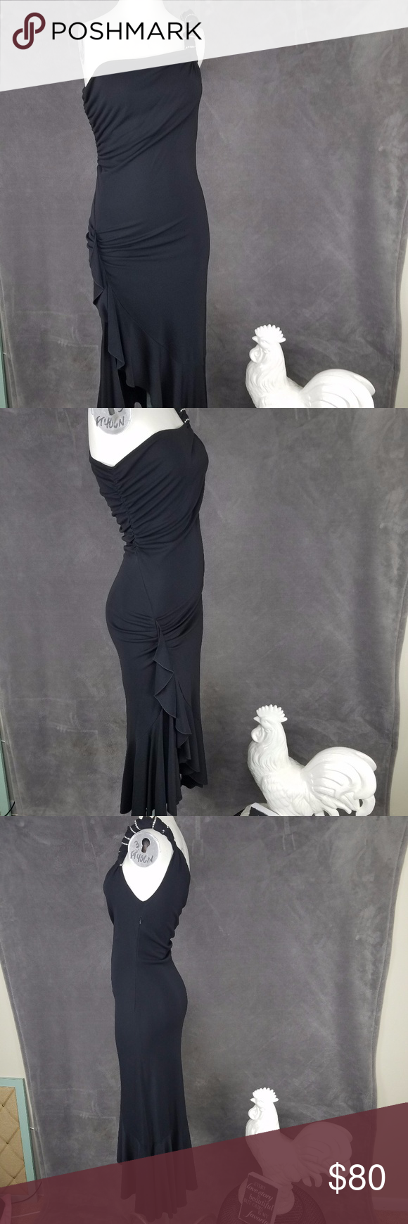 """Janine Black Cocktail Dress Asymmetric High Slit S Janine of London - Black Evening Dress - Asymmetric Hem - High Slit on One Side & Long on the Other - One Shoulder Rhinestone - Cocktail Las Vegas Party Dress - Sz S Semi Sheer Material - Stretchy Flares Out at Bottom  Great Cocktail or Evening Dress.  Perfect for dancing or attending fancy dinner.  Worn a couple of times, great condition.  Please see photos for condition.  Measurements: Armpit to Armpit - 15"""" Short Side Length - 19"""" (From…"""