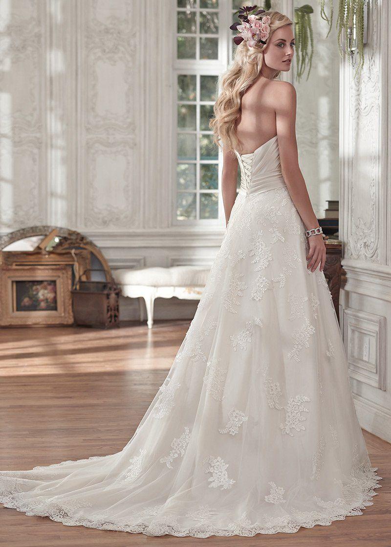 Elegant satin tulle sweetheart neckline aline wedding