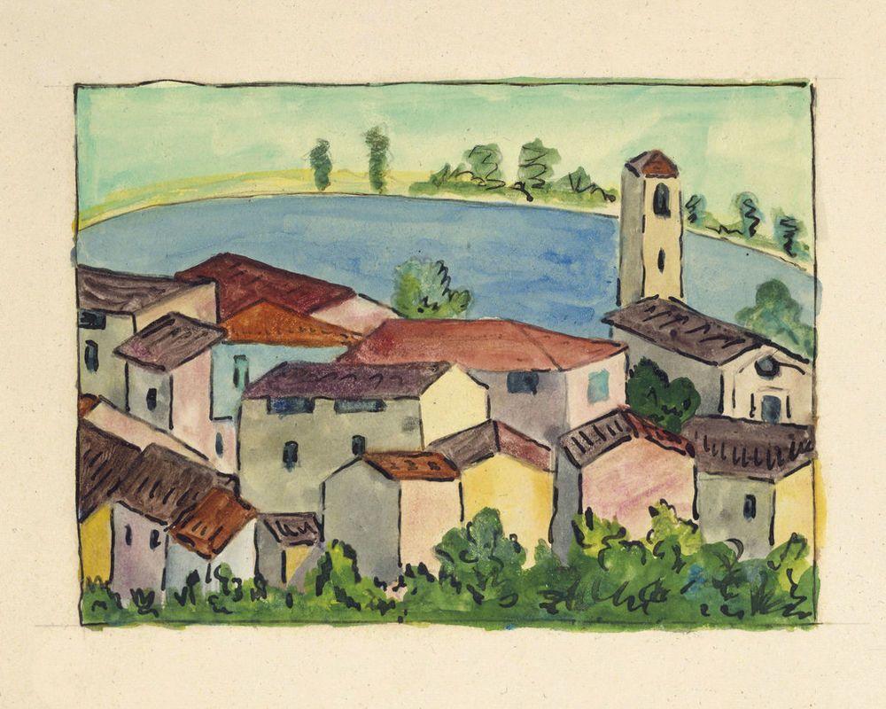 Hermann Hesse Tessiner Dorf Am See 1924 Kunstmalerei