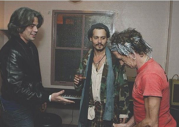 Three of the coolest people ever: Benicio del Toro, Johnny Depp, and Keith Richards