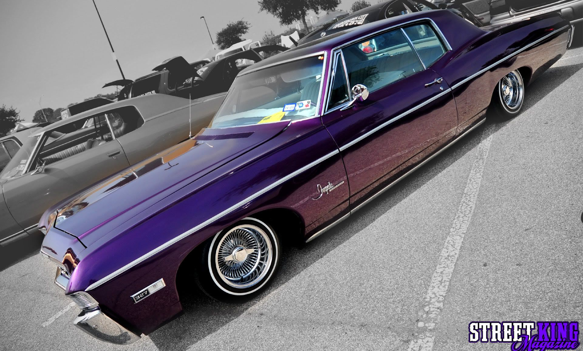 Purple 1967 Chevy Impala Lowrider Picture Hd Wallpaper Cars