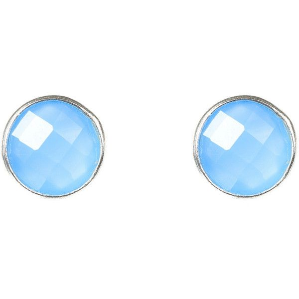 Latelita London Medium Circle Stud Silver Blue Chalcedony M7sWVo