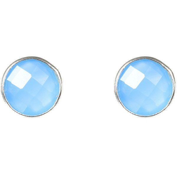 Latelita London Medium Circle Stud Gold Blue Chalcedony mz2vvpPxl