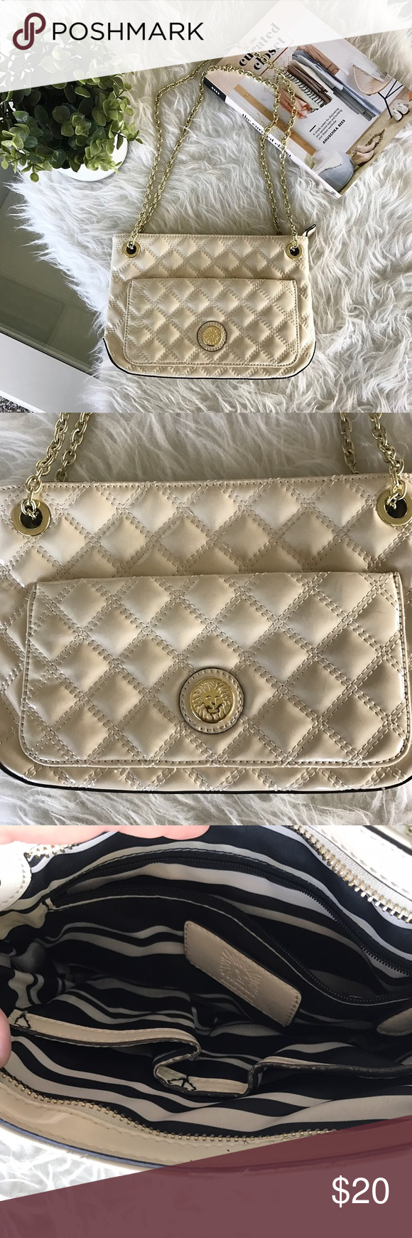 Anne Klein Quilted Purse Can also be used as a crossbody. Small mark on backside (shown in pics). Man made material. Anne Klein Bags