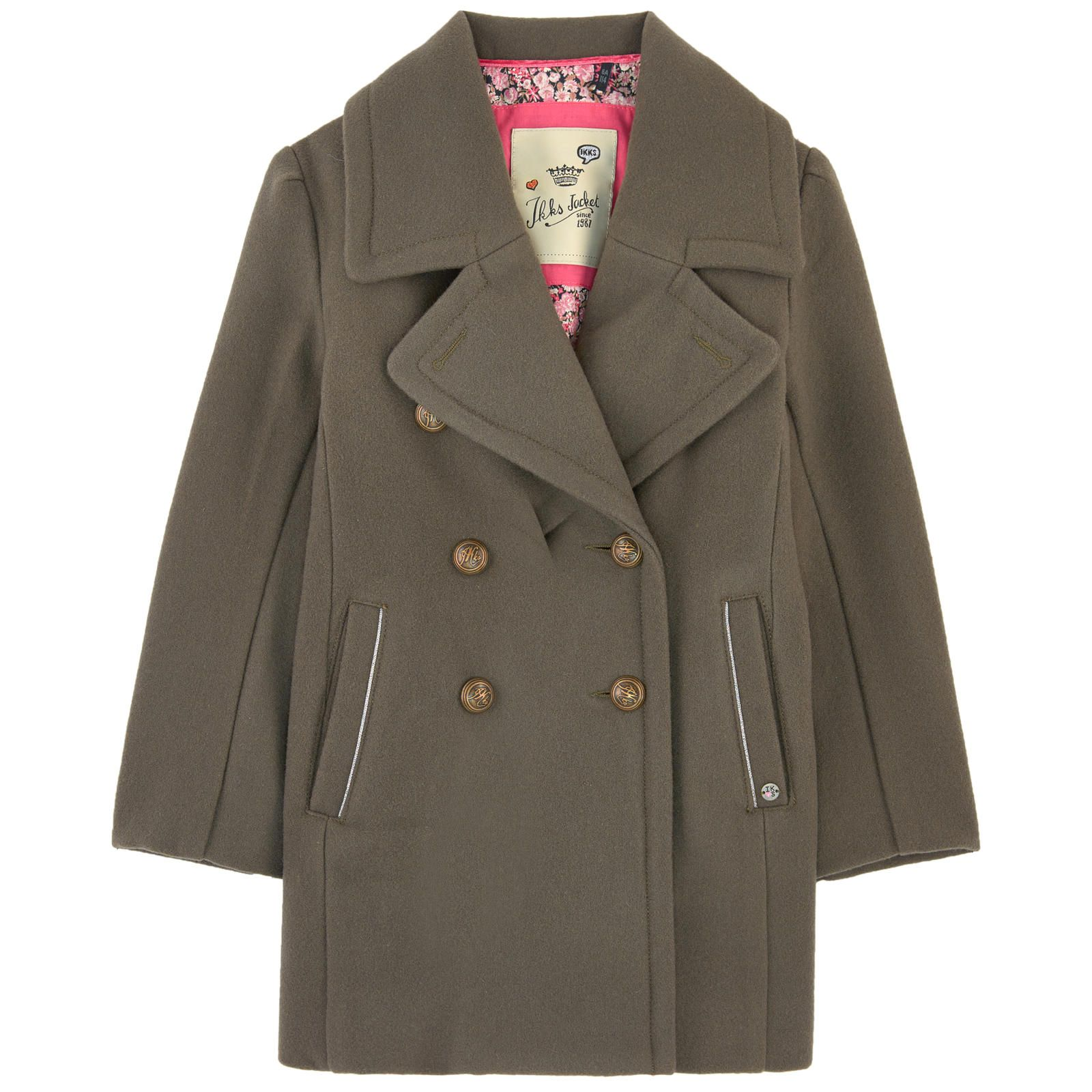 Wool blend cloth Cotton lining Warm item Jacket collar Long sleeves Side pockets Rear slit Two button straps Logo buttons Piping on the trims - $ 206