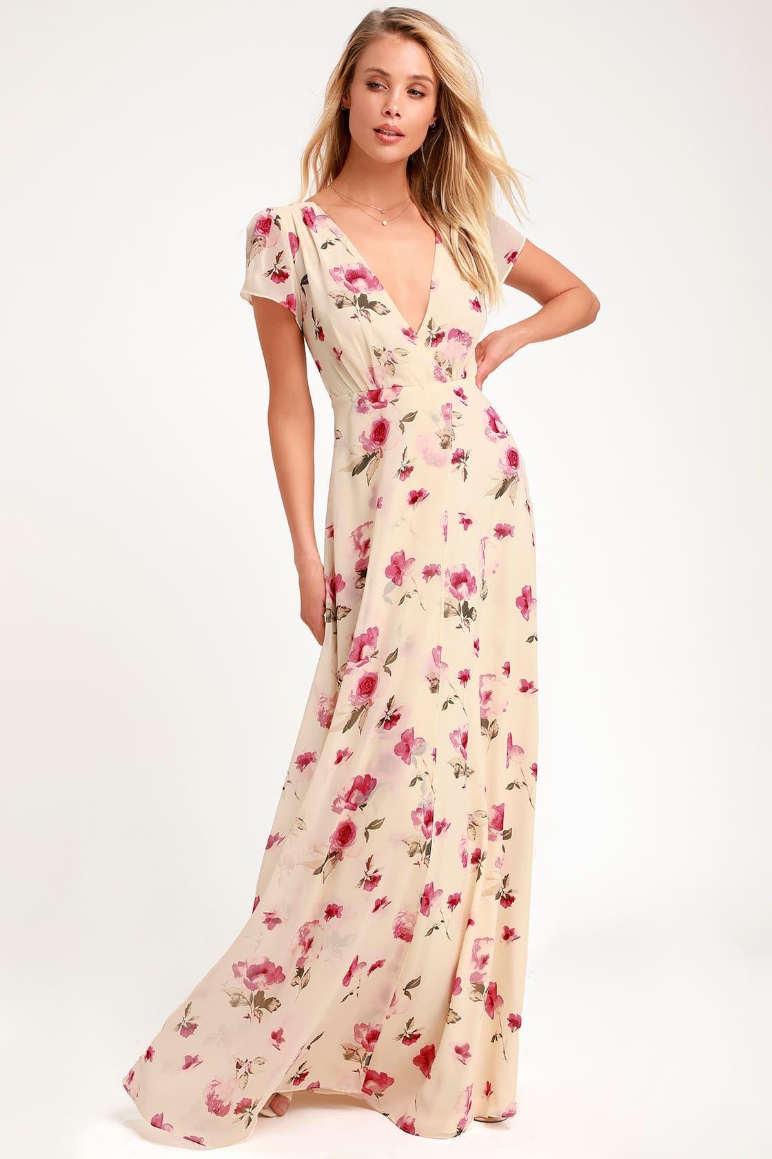Gift of love cream floral print short sleeve maxi dress