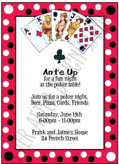Poker Night Party Invitation cards party Poker party, Casino